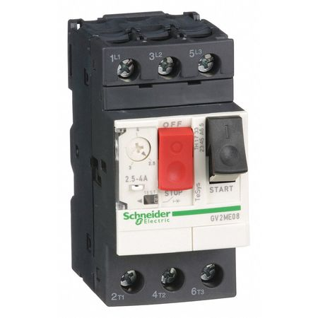 Manual Motor Starter, Button, 2.5-4A, 1P