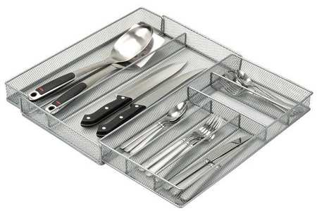 Expandable Cutlery Tray,  7 Compartments,  Silver