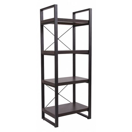 Bookshelf Metal Frame Charcoal Wood