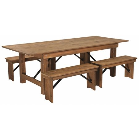 Flash furniture antique farm table 4 bench set 96x40 xa farm 2 antique farm table 4 bench set watchthetrailerfo