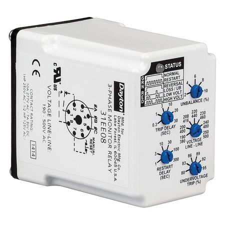 dayton 3 phase monitor relay spdt 500vac 8 pin 31ee08 zoro