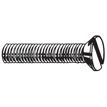 M5-0.8 x 16 mm. Flat Head Slotted Machine Screw,  100 pk.