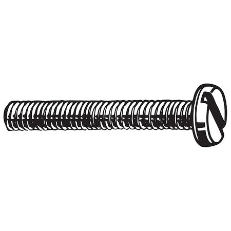 M4-0.7 x 25 mm. Pan Head Slotted Machine Screw,  100 pk.