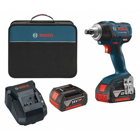 Bosch 18 Volt 1 2 Cordless Impact Wrench Kit With 4 0ah Batteries Iwmh182 01 Gba18v63 Zoro