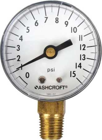 ASHCROFT 20W1005PH02L160# Gauge,Pressure,0 to 160 psi,Lower,2 in.
