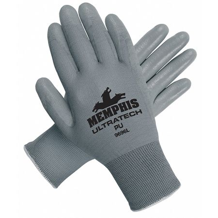 Coated Gloves, S, Gray, Polyurethane, PR