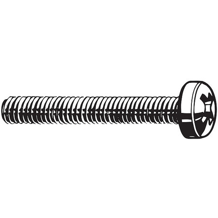 M2.5-0.45 x 6 mm. Pan Head Phillips Machine Screw,  100 pk.