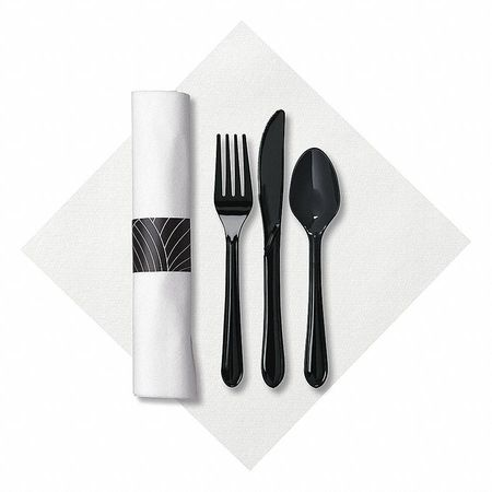 Hoffmaster Disposable Cutlery Set Black Heavy Weight
