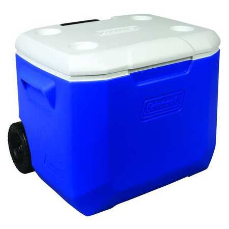 Wheeled Chest Cooler, 60 Qt., Blue, White