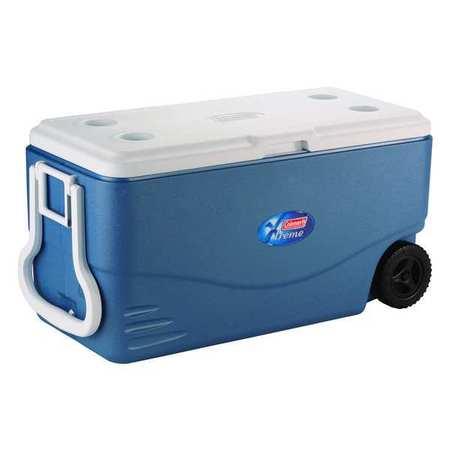 Wheeled Chest Cooler, 100qt, Blue, White