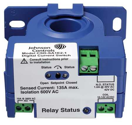 Johnson Controls Current Sensing Relay 1 to 135A 240VAC CSDSA1E1