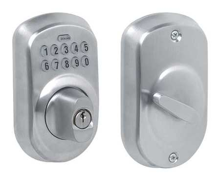 Schlage Deadbolt Lock Satin Chrome 10 Button Be365 Ply
