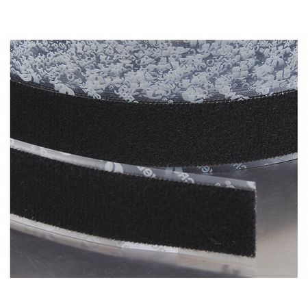 "5/8"" W x 75' L Loop Black Reclosable Adhesive Fastener Roll"
