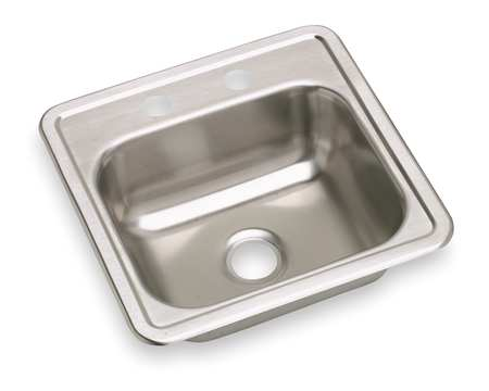 Drop-In Sink with Faucet Ledge, 15 In. L