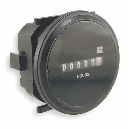 Hour Meter, AC Quartz, Flush, Round, 6 Digit