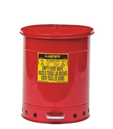 Oily Waste Can, 14 Gal., Steel, Red