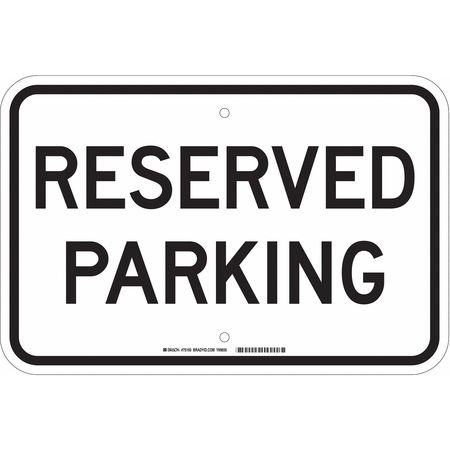 Parking Sign, 12 x 18In, BK/WHT, Fiberglass