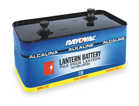 Lantern Battery, Alkaline, 7.5V, Screw Term