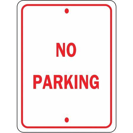 Parking Sign, 18 x 12In, R/WHT, No PRKG, SYM
