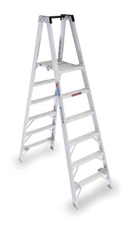 Twin Platform Stepladder, 6 ft, Alum, 300lb