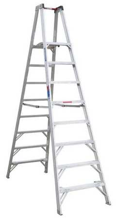 Twin Platform Stepladder, 8 ft, Alum, 300lb