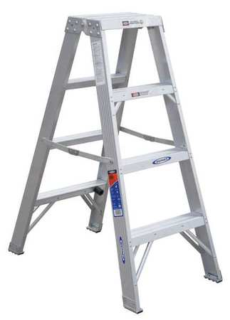 4' Aluminum 300 lb. Twin Stepladder,  Type IA