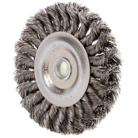 Knot Wire Wheel Brush, Stem, 0.014 In.