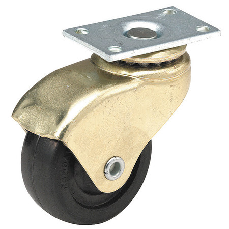 Swivel Plate Caster, Rubber, 2 in., 75 lb.