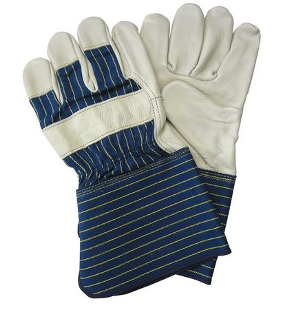 Leather Gloves, Striped Cotton, L, PR