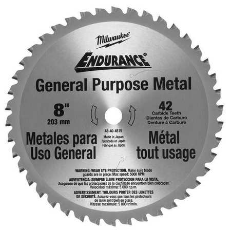 Circular Saw Blade, Cermet, 8 In, 42 Teeth