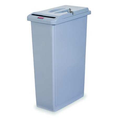 23 gal. Gray Plastic Rectangular Confidntial Waste Container