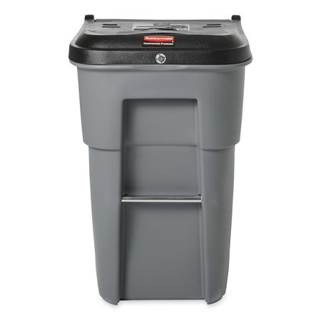 Rectangular Gray Trash Can W/ Lid And Wheels