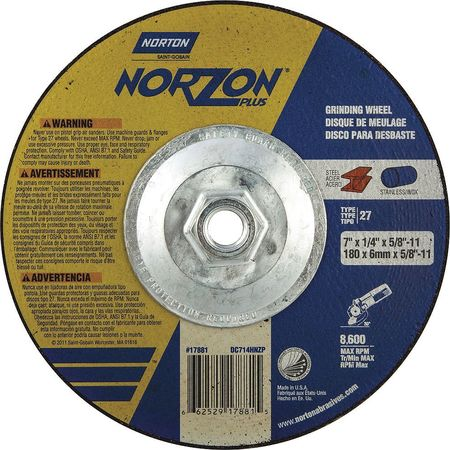 Depressed Ctr. Wheel, T27, 7in, 5/8in-11
