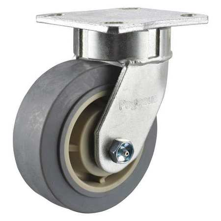 Swivel Plate Caster, 5 in Dia, 375 lb, Ball