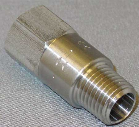 "1/4"" MNPT x FNPT Stainless Steel Piston Spring Check Valve"