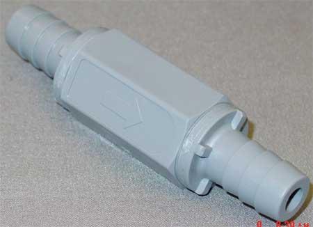 """1/2"""" Barb Gray PVC Ball Cone Spring Check Valve"""