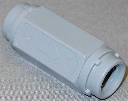 Ball Cone Spring Check Valve, Grey PVC