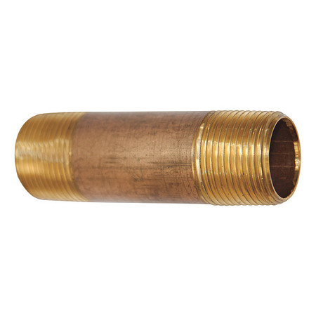 "3"" x 8"" MNPT Threaded Red Brass Pipe Nipple"