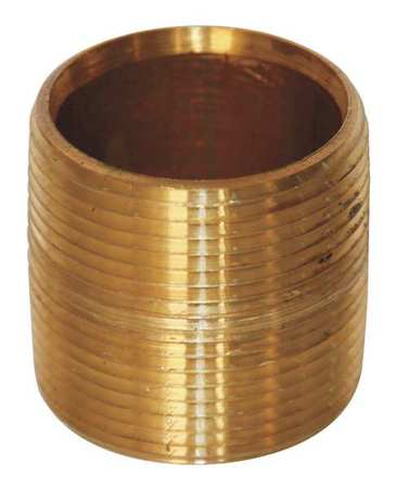 "1/8"" x 3/4"" MNPT Threaded Red Brass Close Pipe Nipple"