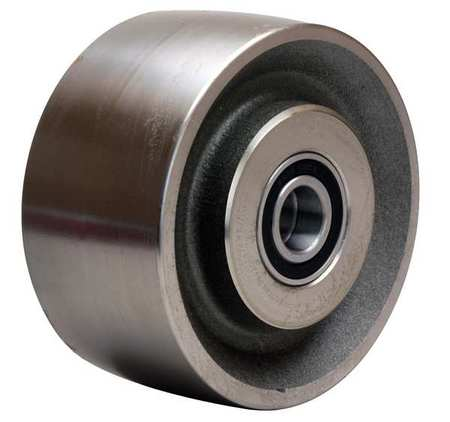 Caster Wheel, Steel, 6 in., 4000 lb., Slvr
