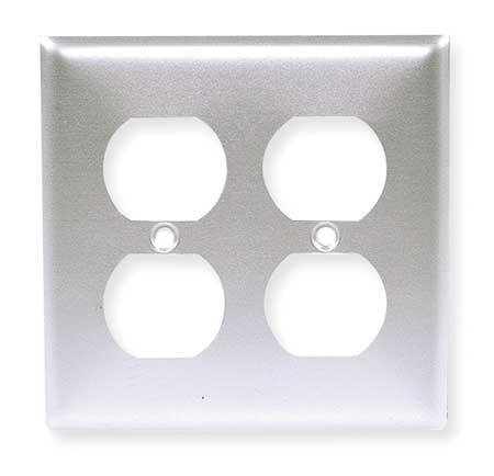 Duplex Wall Plate, 2 Gang, Silver