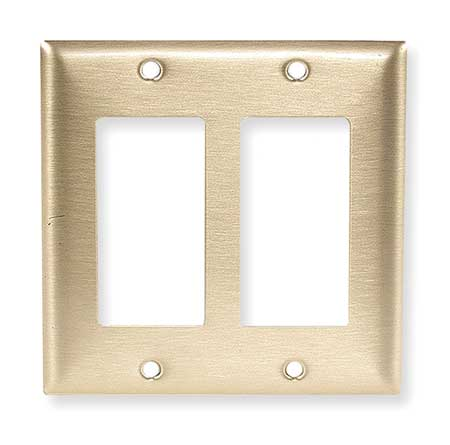 Rocker Wall Plate, 2 Gang, Brass