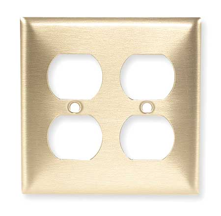 Duplex Wall Plate, 2 Gang, Brass