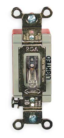 Illuminated Wall Switch, 1-Pole, 20A, Clear