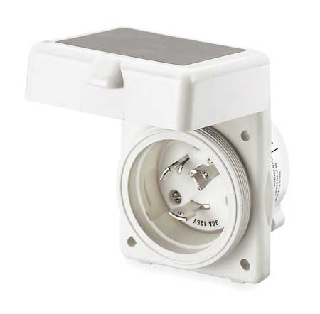 50A Marine Flanged Locking Inlet 2P 3W 125VAC