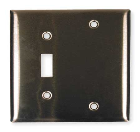 Toggle Switch/Blank Plate, 2 Gang, Silver