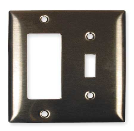 Toggle Switch/Rocker Plate, 2 Gang, Silver