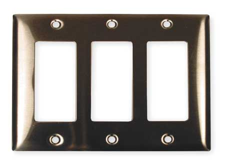Rocker Wall Plate, 3 Gang, Silver