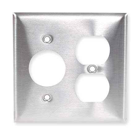 Single/Duplex Wall Plate, 2 Gang, Silver