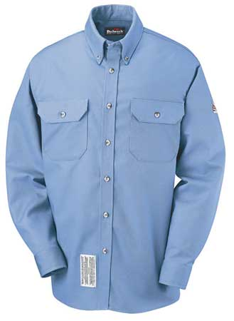 Flame Resistant Collared Shirt,  Blue,  Cotton/Nylon,  LT